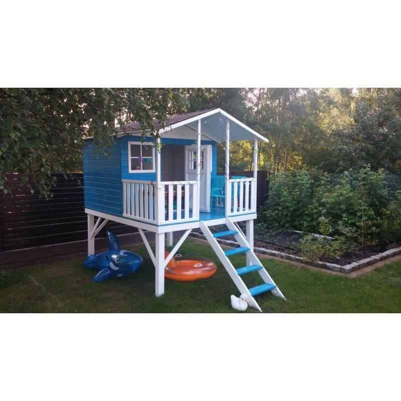 Domek ogrodowy dla dzieci 4IQ Gucio drewniany ze ślizgiem i tarasem